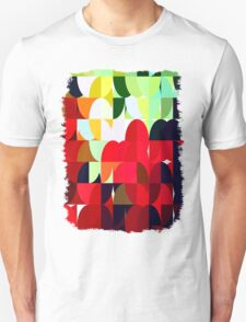 Mixed Color Poinsettias 2 Abstract Circles 1 T-Shirt