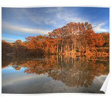 Texas  Hill Country Images - Pedernales Falls State Park Autumn Sunset 2 Poster