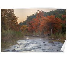 Texas Hill Country Images - The Pedernales River in Autumn Moonrise Poster