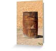 Open rusty iron barrel Greeting Card