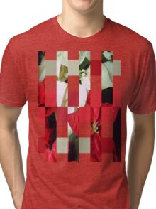 Mixed Color Poinsettias 2 Art Rectangles 15 Tri-blend T-Shirt