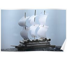 Paper Sailing ship on a blue background Poster