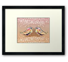 Exotic Peach Lovebirds Framed Print