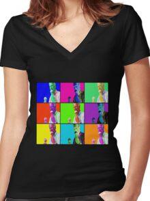 Joe Biden Ice Cream Pop Art Women's Fitted V-Neck T-Shirt