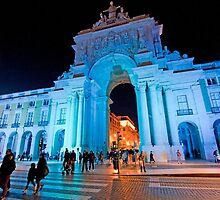 Blue plaza. Arco da Rua Augusta em azul by terezadelpilar~ art & architecture