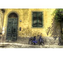Blue Bike in Lucca Photographic Print