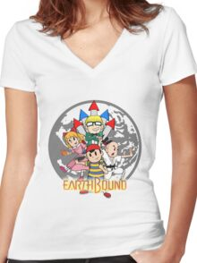 Earthbound w/ Logo Women's Fitted V-Neck T-Shirt