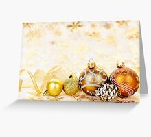 Golden Christmas ornaments background Greeting Card