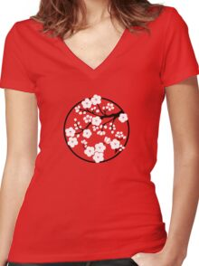 Plum Blossoms - White Women's Fitted V-Neck T-Shirt