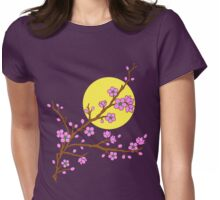 Plum Blossom Moon Womens Fitted T-Shirt