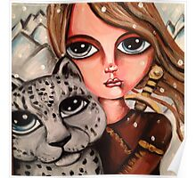 huntress with snow leopard Poster