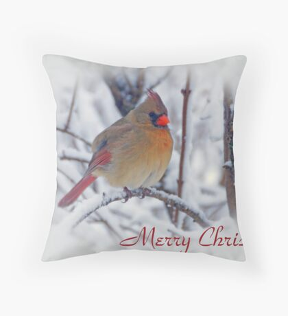 Cardinal Christmas Card Throw Pillow