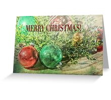 Merry Christmas Card Still Life Vintage Christmas Ornaments Greeting Card