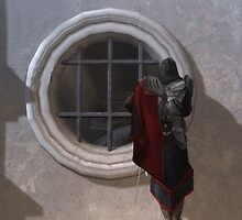 Ezio on a ledge by Žóè Ĝèñtž