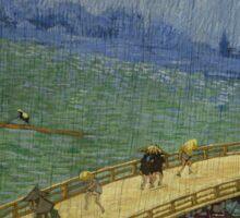 Vincent Van Gogh  - Bridge in the rain after Hiroshige, 1887 Sticker