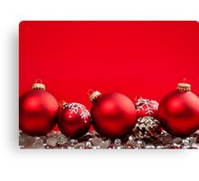 Red Christmas background with ornaments Canvas Print