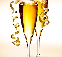 Champagne glasses at New Years by Elena Elisseeva