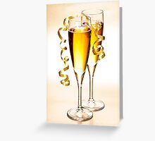 Champagne glasses at New Years Greeting Card