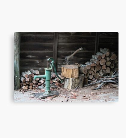Woodpile in August Canvas Print