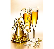 Champagne and New Years party decorations Photographic Print
