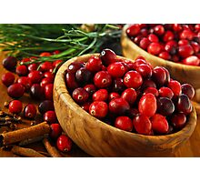 Cranberries in bowls Photographic Print