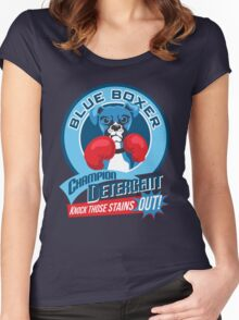 Blue Boxer Champion Detergent Retro T-shirt- original art Women's Fitted Scoop T-Shirt