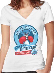 Blue Boxer Champion Detergent Retro T-shirt- original art Women's Fitted V-Neck T-Shirt