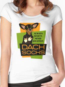 Happy Dachshund in Socks Retro T-shirt- original art Women's Fitted Scoop T-Shirt