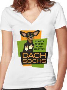 Happy Dachshund in Socks Retro T-shirt- original art Women's Fitted V-Neck T-Shirt