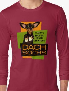Happy Dachshund in Socks Retro T-shirt- original art Long Sleeve T-Shirt