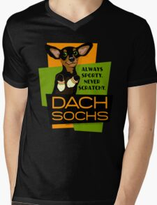 Happy Dachshund in Socks Retro T-shirt- original art Mens V-Neck T-Shirt