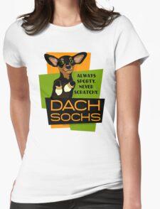 Happy Dachshund in Socks Retro T-shirt- original art Womens Fitted T-Shirt