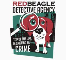 Red Beagle Detective Agency Retro T-shirt- original art by DKMurphy