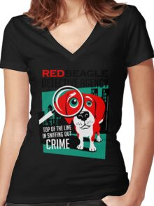 Red Beagle Detective Agency Retro T-shirt- original art Women's Fitted V-Neck T-Shirt