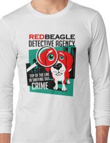 Red Beagle Detective Agency Retro T-shirt- original art Long Sleeve T-Shirt