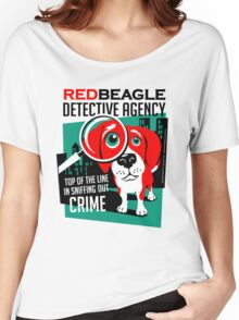 Red Beagle Detective Agency Retro T-shirt- original art Women's Relaxed Fit T-Shirt