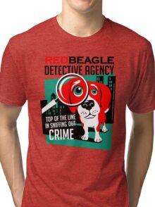 Red Beagle Detective Agency Retro T-shirt- original art Tri-blend T-Shirt
