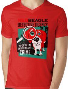 Red Beagle Detective Agency Retro T-shirt- original art Mens V-Neck T-Shirt