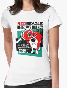 Red Beagle Detective Agency Retro T-shirt- original art Womens Fitted T-Shirt