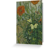 Vincent Van Gogh  - Butterflies and poppies, 1890 Greeting Card
