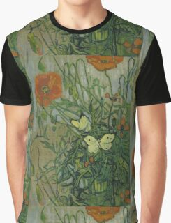 Vincent Van Gogh  - Butterflies and poppies, 1890 Graphic T-Shirt