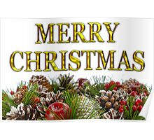 Merry Christmas With Decorative Wreath Poster