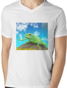 Happy Green Lizard Sitting on a Rock in a Blue Sunny Day Mens V-Neck T-Shirt