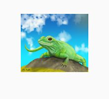 Happy Green Lizard Sitting on a Rock in a Blue Sunny Day Unisex T-Shirt