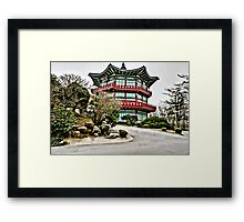 Old Korean Architecture Linen / Canvas Digital Painting Framed Print