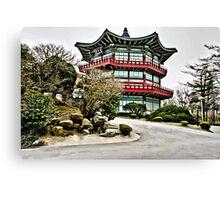 Old Korean Architecture Linen / Canvas Digital Painting Canvas Print