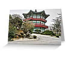 Old Korean Architecture Linen / Canvas Digital Painting Greeting Card