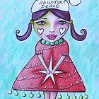 Abundant Peace Whimsical Art Print Christmas Greeting Card  by Tanya Cole