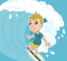 Surfing boy cartoon by Radka Kavalcova