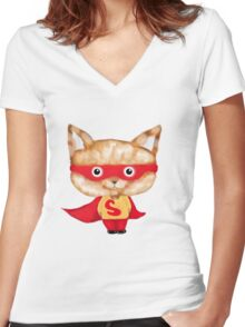 Super cat Women's Fitted V-Neck T-Shirt